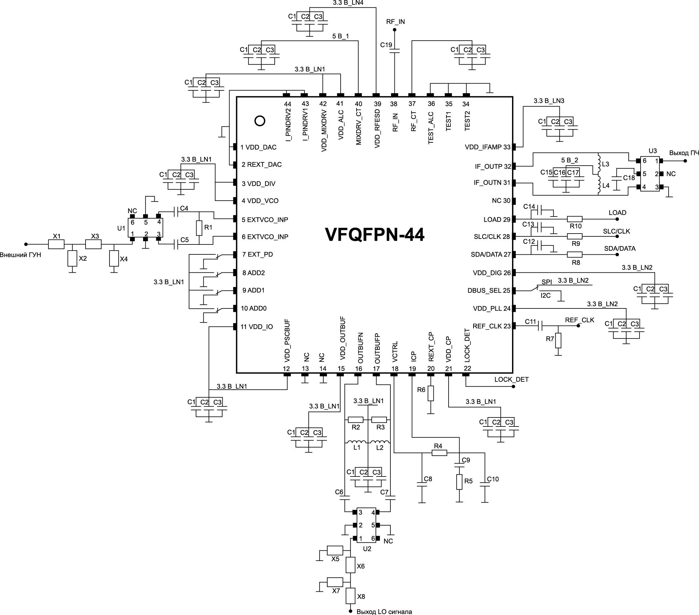 Типовое включение микросхемы STW82100B