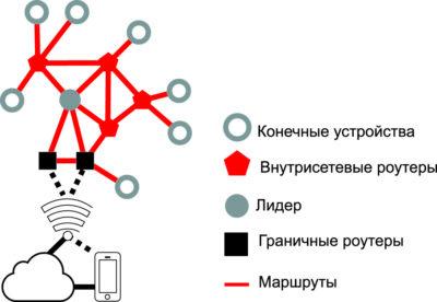 Структура ячеистой сети Thread