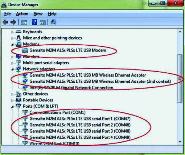 Отображение модемной карты mPLAS9-W в окне диспетчера устройств Windows