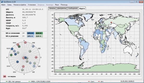 Окно «Карта» программы GeoSDemo