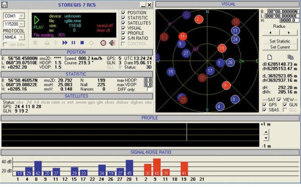 Главное окно Storegis при испытании модуля ГеоС-1М