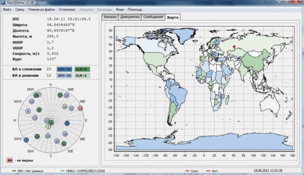 Расположение навигационного приемника на карте мира