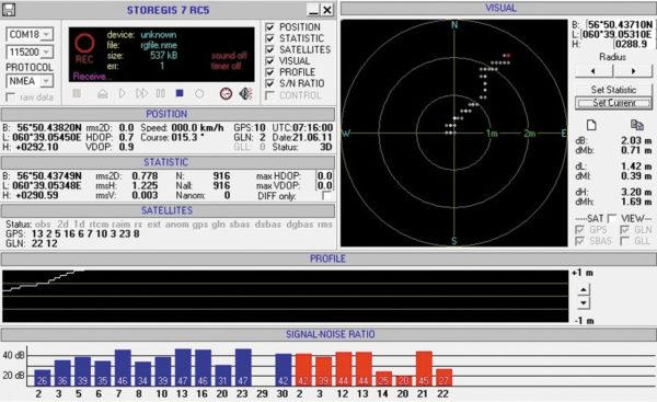 Результаты работы навигационного приемника Геос-1М на крыше здания после обработки программой Storegis