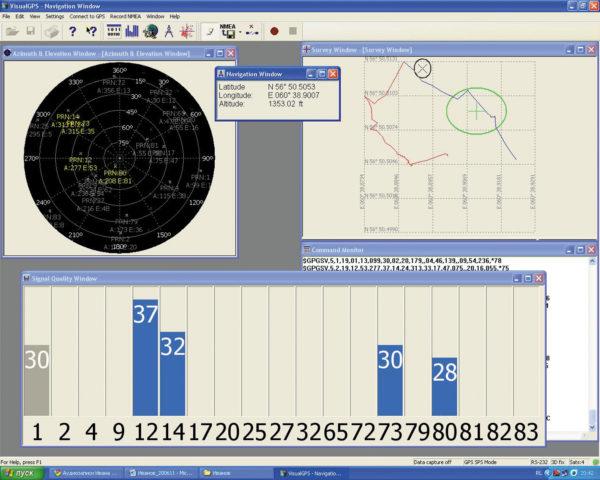Главное окно программы VisualGPS