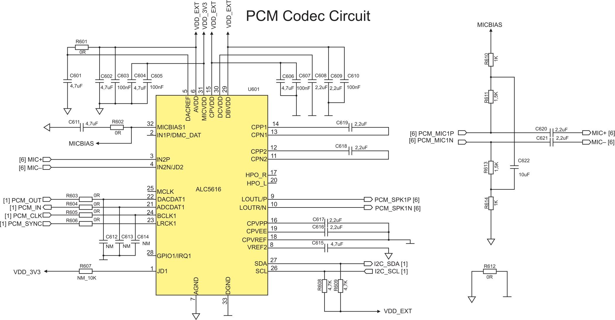 Схема подключения кодека ALC5616 к модулю UG95