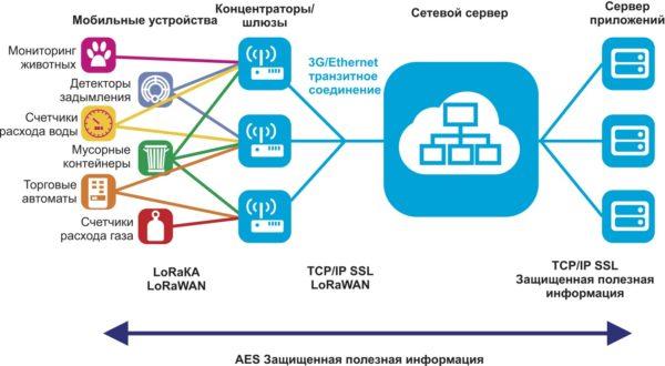 Структура сети LoRaWAN