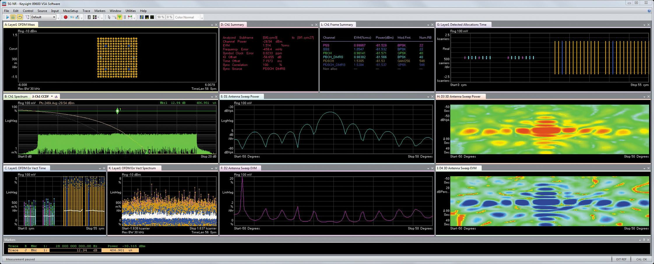 Анализ сигналов стандарта 5G NR с модуляцией 256 QAM и диаграммы направленности антенны