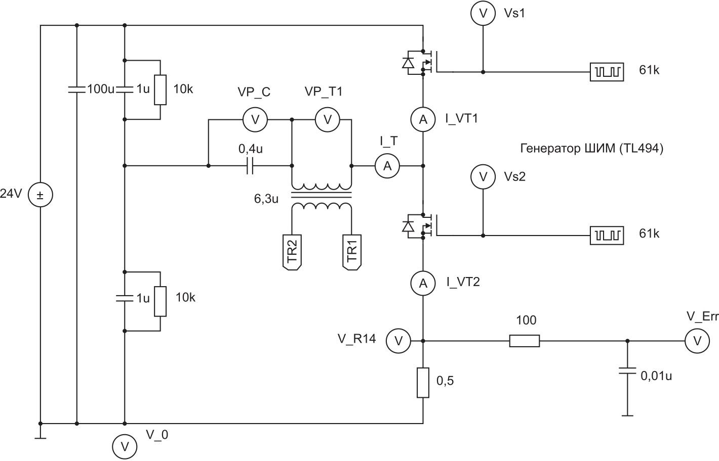 Схема передающего устройства в программе PSIM