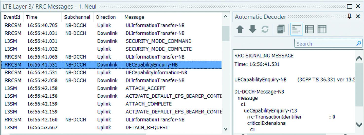 Поток сигналов подключения устройства NB-IoT как он виден из инструмента для сбора данных Nemo Outdoor компании Keysight