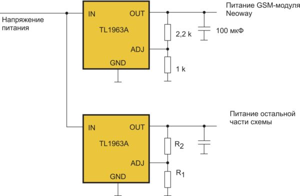 Схема с раздельными источниками питания GSM-модули Neoway