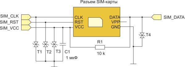 Схема подключения SIM-карты к модулю WM620