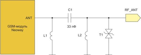 Схема согласующей П-образной цепи