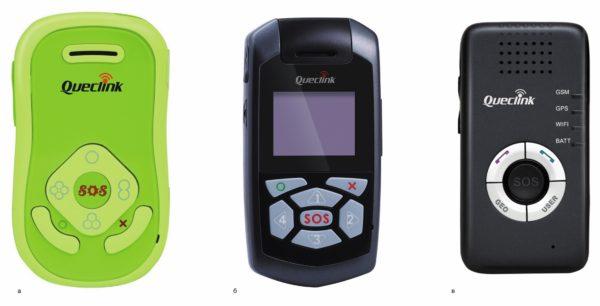 Персональные трекеры Queclink: а) GT200; б) GT300; в) GT500
