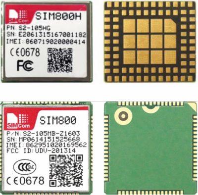 Модули SIMCom: SIM800H и SIM800 (вид сверху и снизу)