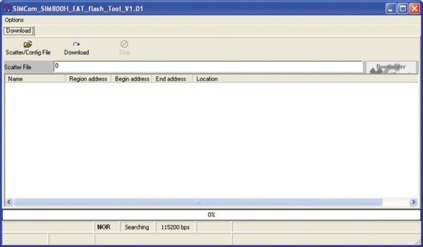 Окно программы SIMCom_SIM800H_EAT_flash_Tool для загрузки бинарного файла EAT в GSM-модуль
