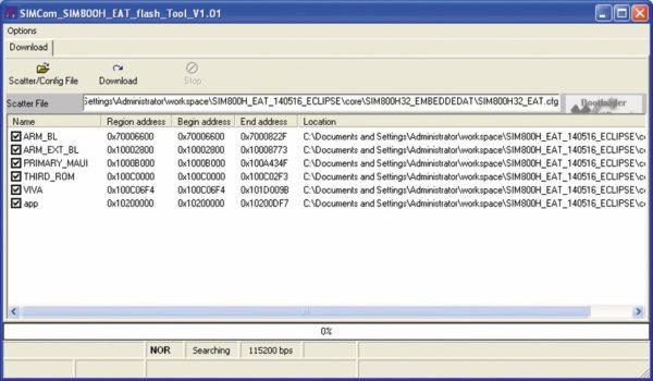 Окно программы SIMCom_SIM800H_EAT_flash_Tool после настройки