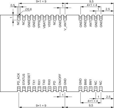 Расположение контактных площадок модуля «ГеоС-3Е» и их размеры
