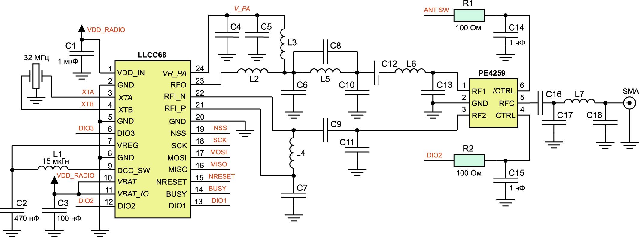 Типовая схема использования трансивера LLCC68