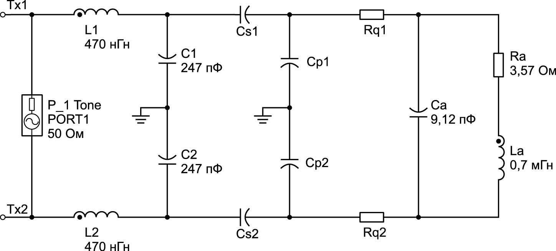 Схема стандартного фильтра ЭМП и согласующей цепи, использованная для моделирования с помощью программы Advanced Design System от компании Keysight Technologies