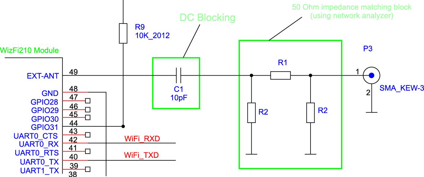 Обобщенная электрическая схема цепи согласования модуля WizFi210 с внешней антенной