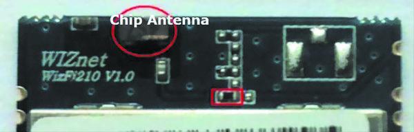 Модификация модуля WizFi210 со встроенной чип-антенной, высокочастотный сигнал на которую подается с помощью резистора с нулевым сопротивлением