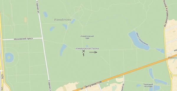 Расположение просеки Измайловского лесопарка