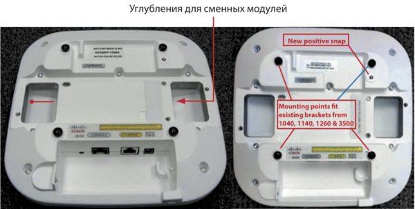 Точки доступа AIR-CAP-3600 с обратной стороны
