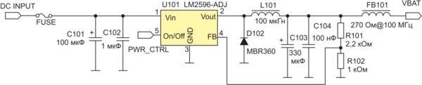 Рекомендованная схема питания SIM7100E с использованием DC/DC