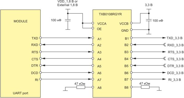 Подключение UART-интерфейса через преобразователь уровней