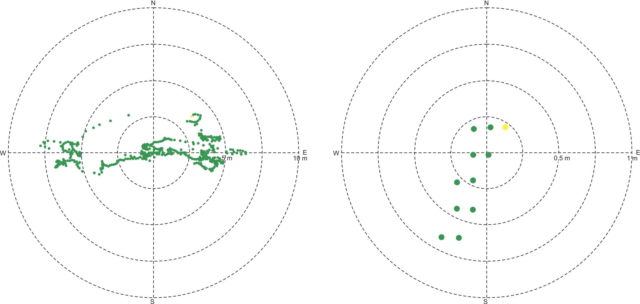 Результаты статических тестов: слева — без использования поправок; справа — с применением RTCM