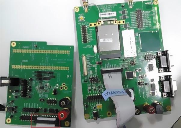 Отладочные платы для MC7304 и WM8994, подключенные через I2S
