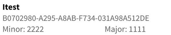 Пример характеристик при обнаружении iBeacon-маяка сканируемых адвертов