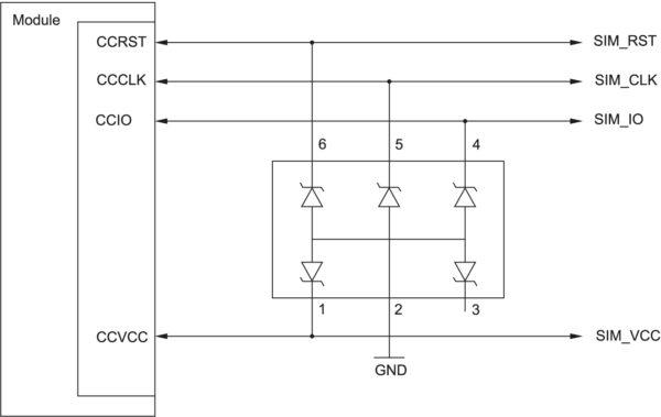 Схема с электростатической защитой для подключения внешней SIM-карты к модулю ENS22-E