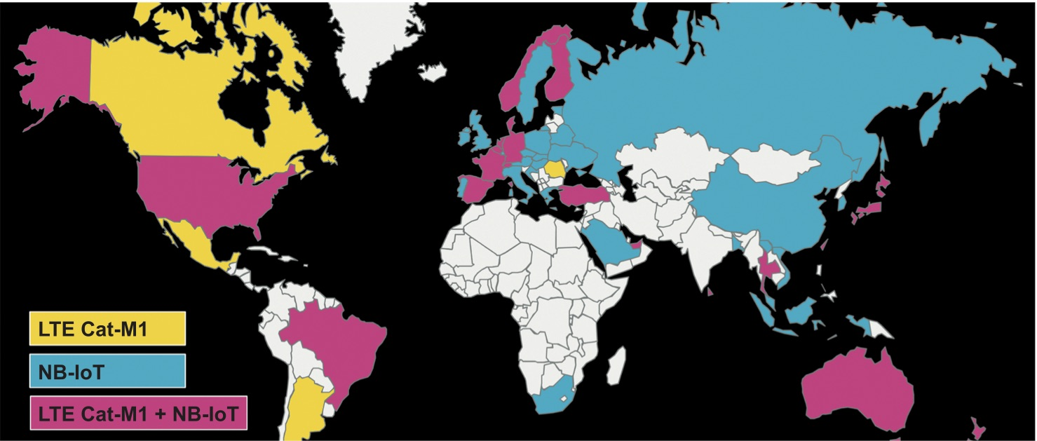 Распространение NBIoT и LTE CatM1 в мире