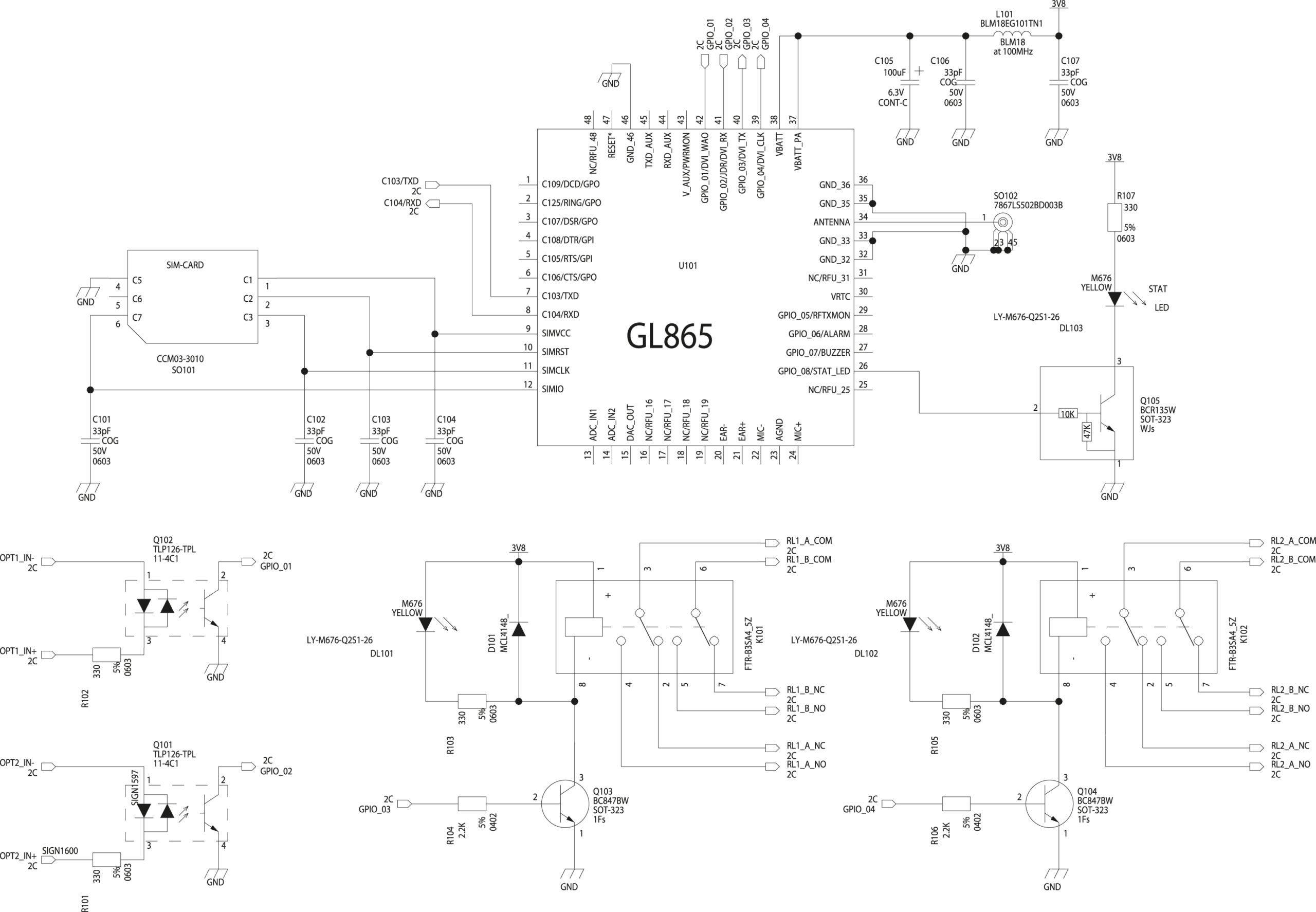 Принципиальная схема устройства для дистанционного управления на базе Telit GL865/868