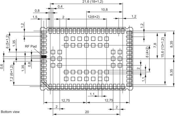 Размеры и расположение контактных площадок модуля BGS2