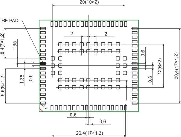 Размеры и расположение контактных площадок модуля BGS8