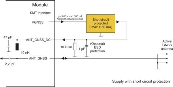 Схема подключения внешней активной ГНСС-антенны с защитой от короткого замыкания