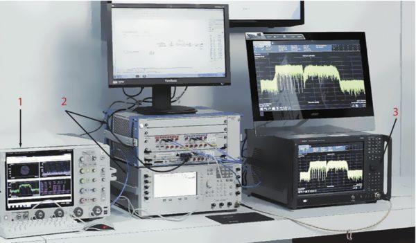 Испытательный стенд для исследования сосуществования в диапазоне 28 ГГц. 1 — осциллограф DSOV334A, 33 ГГц; 2 — AWG M8190A с установленным на встроенный контроллер ПО SystemVue; 3 — анализатор UXA N9040B, 50 ГГц
