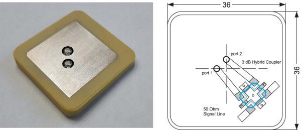 Керамическая антенна DAD1585X36C14 36×36 мм и компоновка высокочастотной части платы устройства