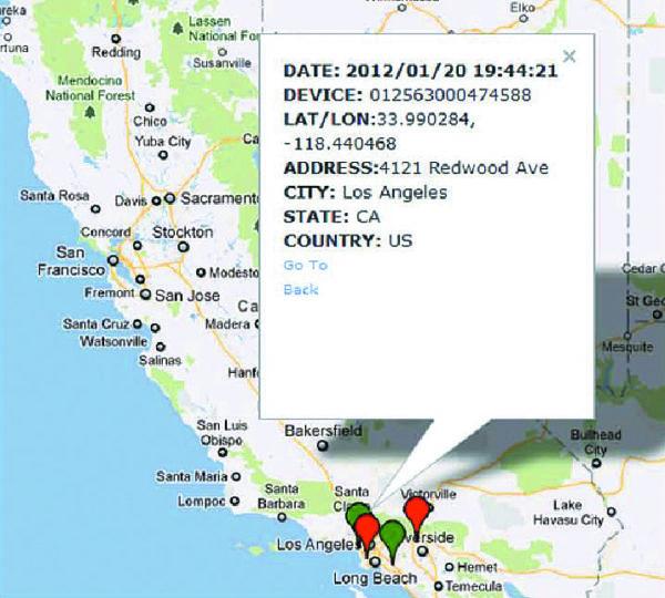 Окно системы N4A Software Platform с картой и точными координатами выбранного объекта