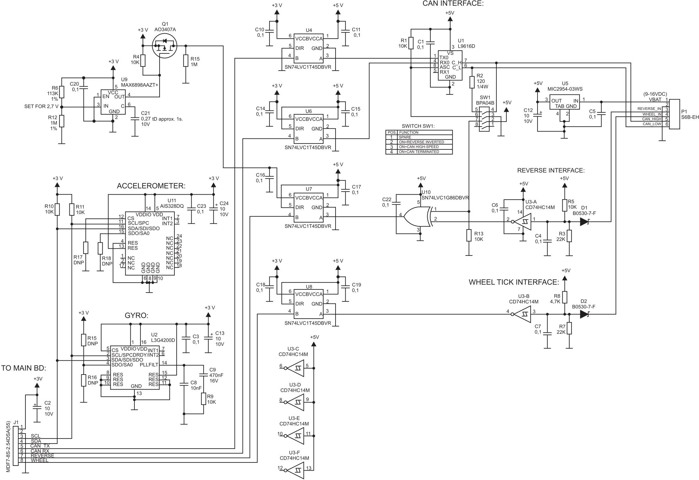 Схема подключения инерциальных датчиков к SL869-DR