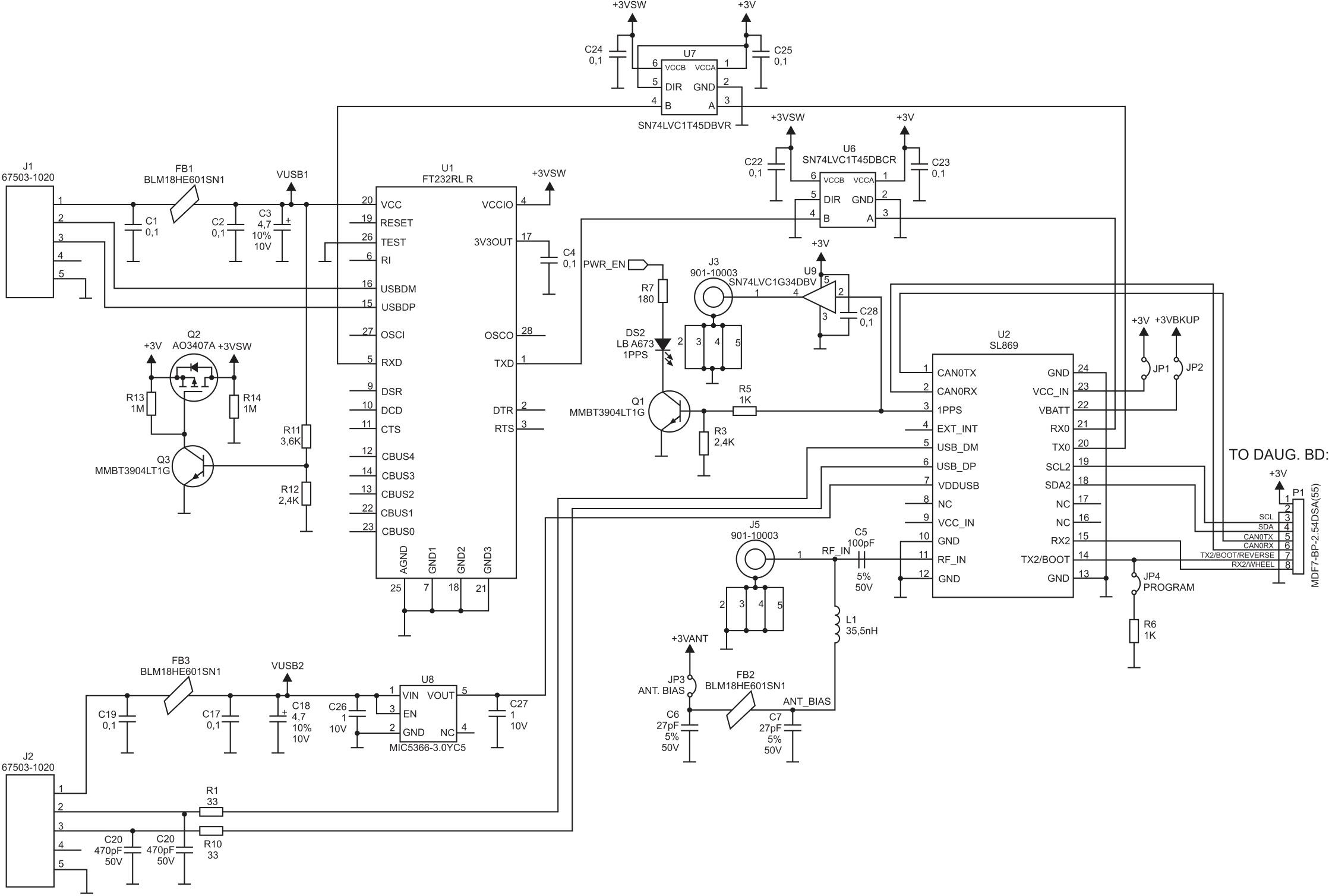 Схема подключения модулей серии SL869