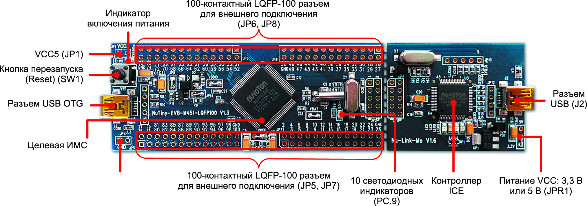 Отладочная плата NuTiny-SDK-M453 с микроконтроллером M453VG6AE