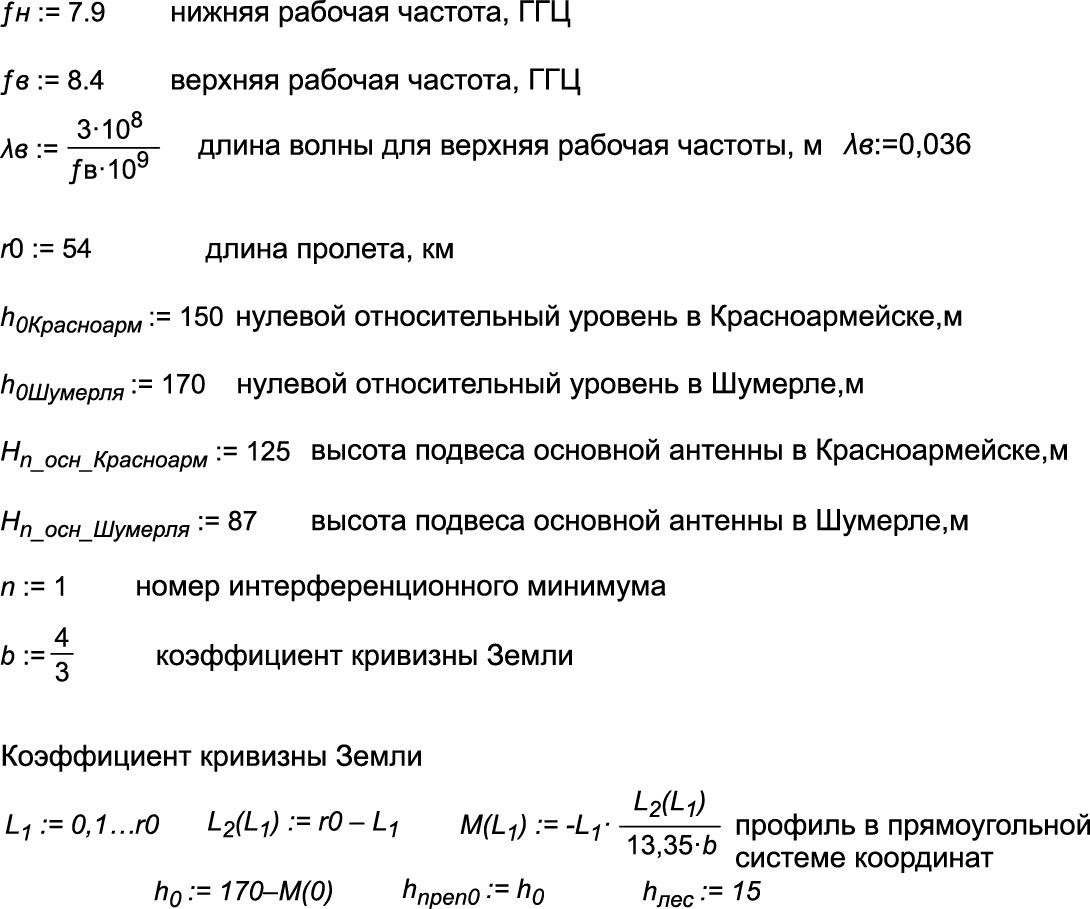 Скриншот программы при расчете трассы для ЦРРС «Протон-ССС» W6000 на участке РРС56–57, часть 1