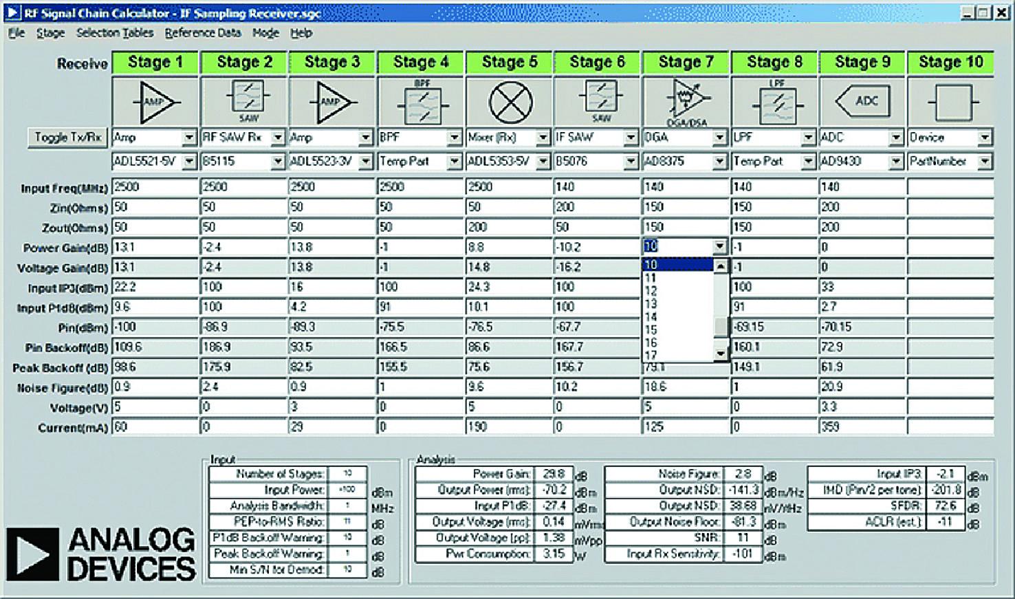 Фрагмент экрана с планом распределения сигнальных уровней для приемника диапазона 2,5 ГГц с дискретизацией на ПЧ