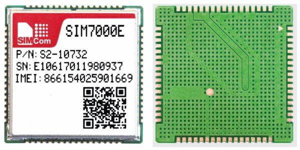 Мультидиапазонный NB-IoT/GSM-модуль SIM7000E (слева — вид сверху, справа — вид снизу)