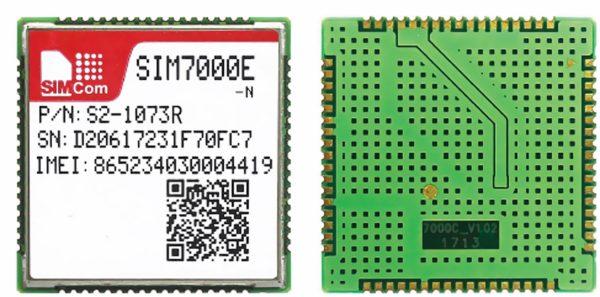 Мультидиапазонный NB-IoT/GSM-модуль SIM7000E-N (слева — вид сверху, справа — вид снизу)