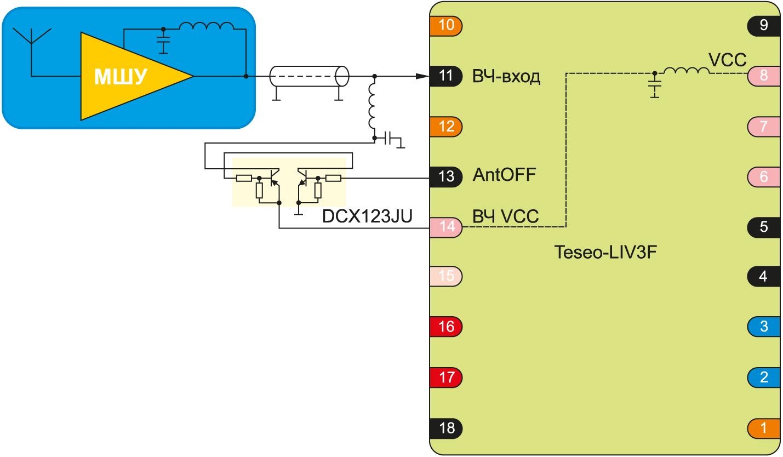 Схема подключения внешней антенны через LNA-усилитель