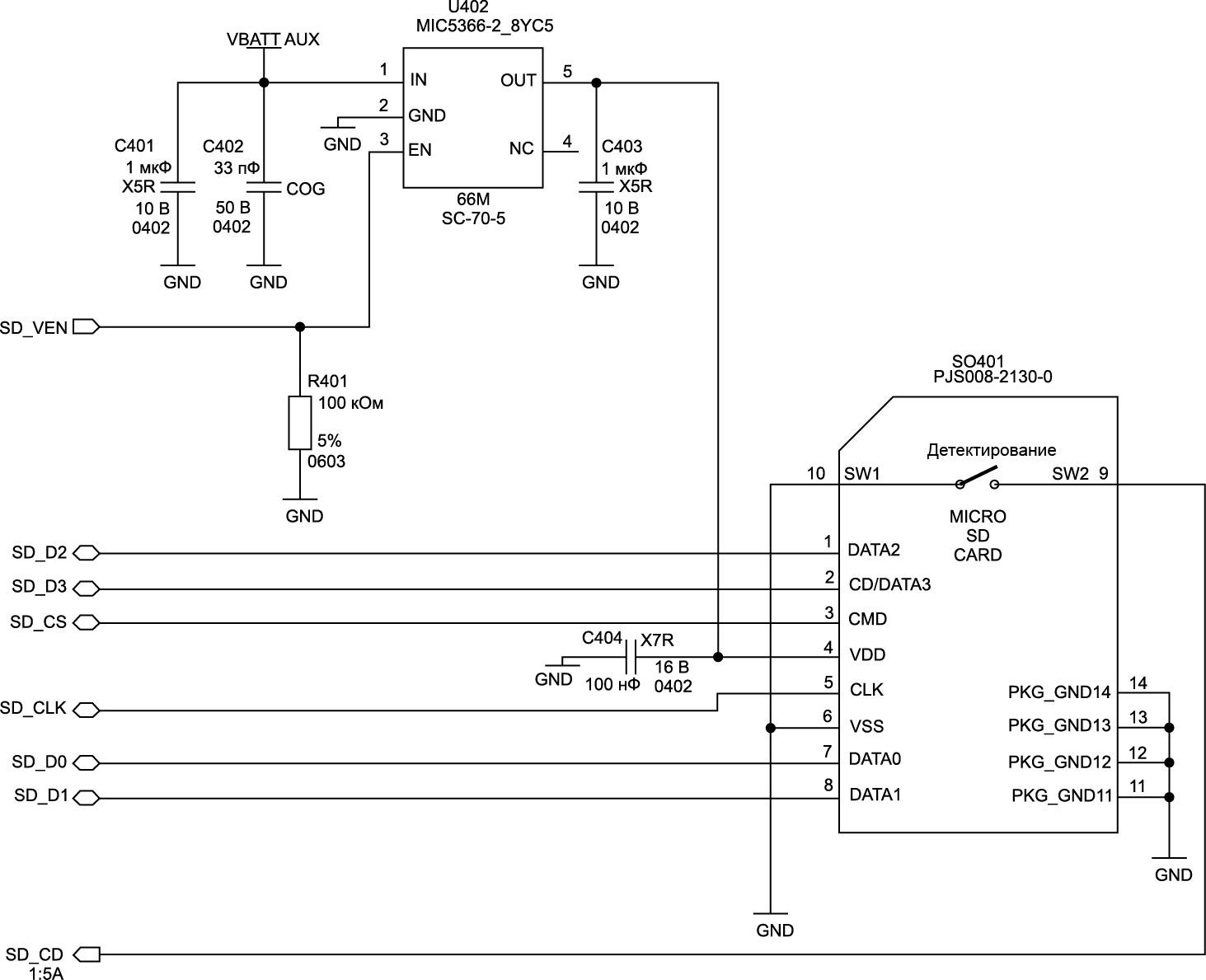 Подключение SD-карты